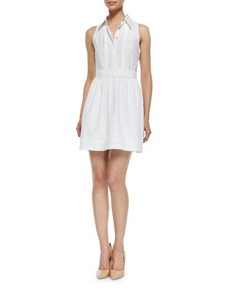 Lara Tuxedo Collar Dress, White