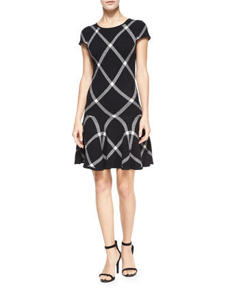 Diagonal Plaid Drop-Waist Dress, Black Pattern