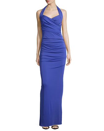 Sleeveless Pleated Gown, New Cobalt