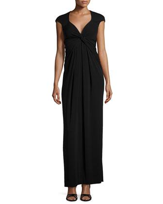 Cap-Sleeve Gown, Black