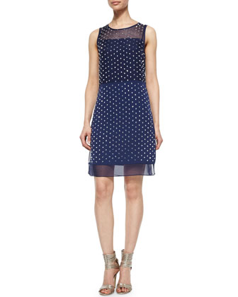 Abriela Embellished Dress, Navy