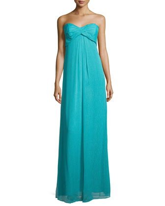 Strapless Combo Gown, New Lagoon