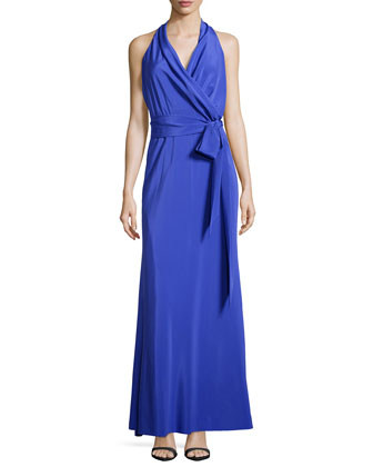 Faux-Wrap Side-Tie Gown, Blueberry