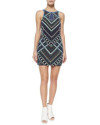 Monaco Beaded Shift Dress, Black
