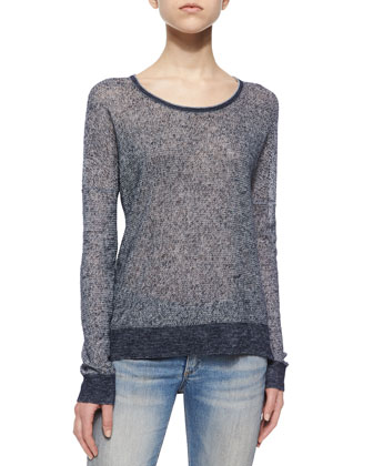 Skye Knit Pullover Sweater, Navy
