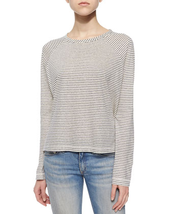 Camden Striped Raglan-Sleeve Tee, Vanilla