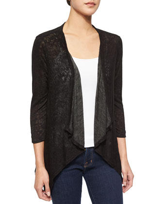 Sheer Draped-Front Slub-Knit Cardigan, Black