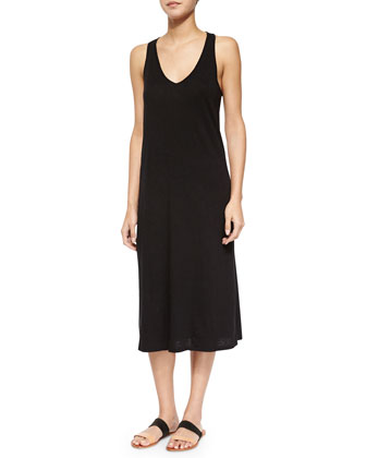 Sleeveless Cross-Back Knit Midi Dress, Black
