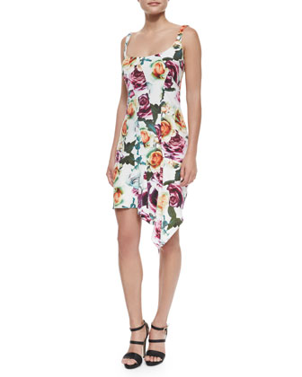 Sleeveless Asymmetric Floral Cocktail Dress, White/Multicolor