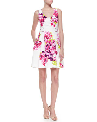 Kosta Floral-Print Pleated Dress