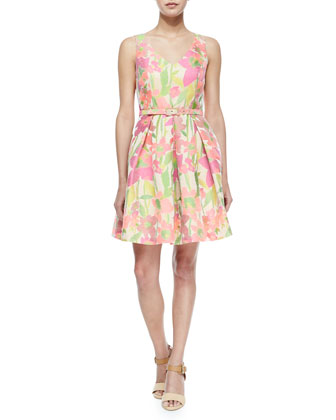Martha Floral V-Neck Belted Fit-and-Flare Dress, Multicolor