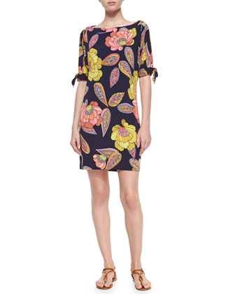 Boat-Neck Floral-Print Shift Dress