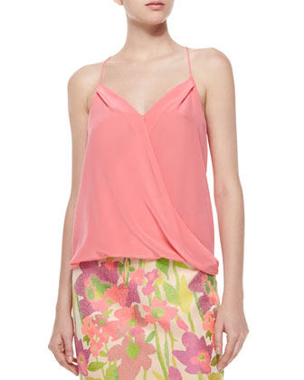 Ally Faux-Wrap Halter Tank, Peony Pink