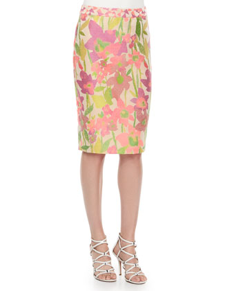 Dorris Floral-Print Pencil Skirt