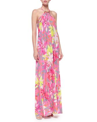 Nikka Floral-Print Halter Maxi Dress