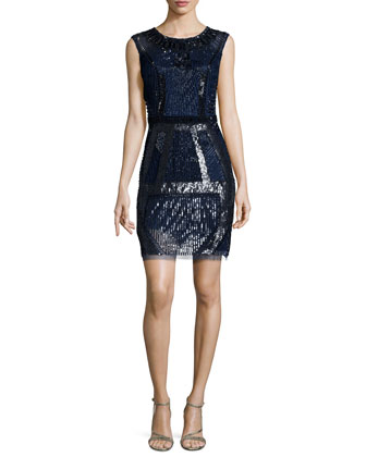 Geometric Beaded Cocktail Dress, Navy/Black