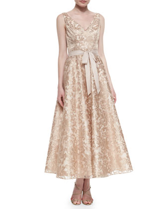Sleeveless Lace Tea-Length Dress, Rose Gold