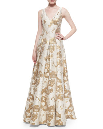 Sleeveless Floral Jacquard Gown, Ivory/Gold