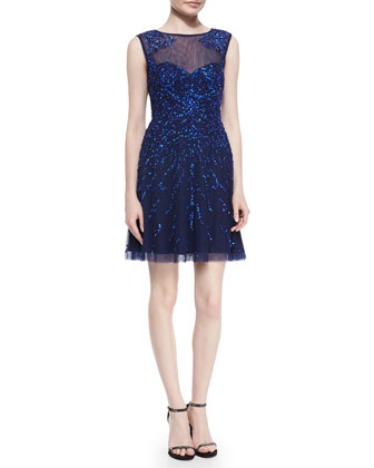 Sleeveless Sequin Cocktail Dress, Neptune