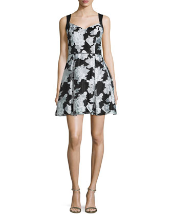 Sleeveless Party Dress w/Side Cutouts, Black/White