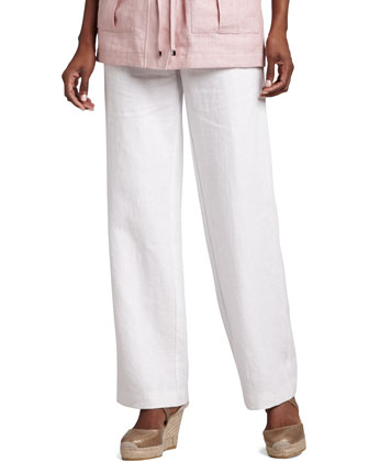 Long Linen Pants, White