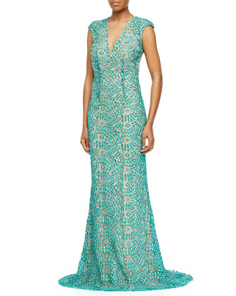 Cap-Sleeve Lace Open-Back Gown