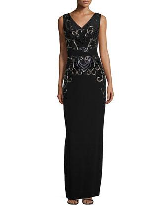 Sleeveless Beaded Evening Gown, Black Multi