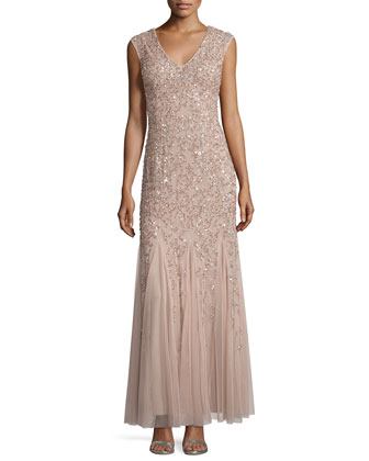 Cap-Sleeve Beaded Godet Gown