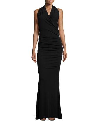 Sleeveless Side-Ruching Gown, Black