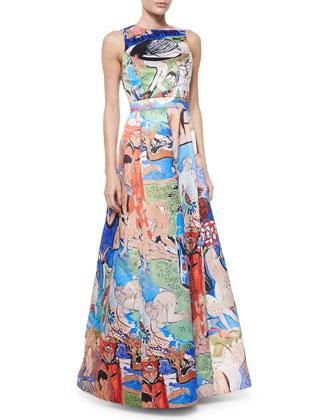 Sleeveless Printed Ball Gown, Domingo