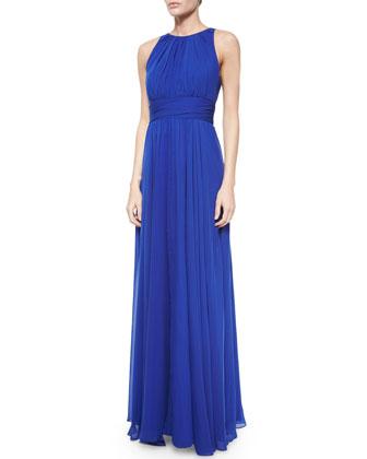 Halter Chiffon Gown, Cobalt
