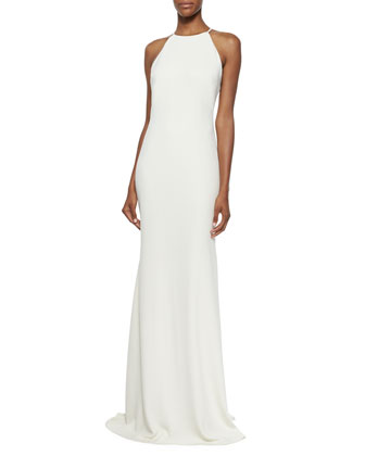 Sleeveless Halter-Neck Column Gown, Ivory