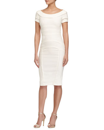 Off-the-Shoulder Sheath Dress, White