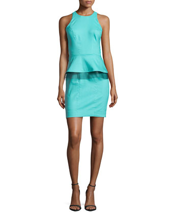 Sleeveless Peplum-Detail Dress, Light Aqua