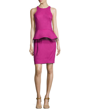 Sleeveless Peplum-Detail Dress, Mulberry