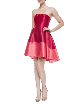 Clarkson Strapless Colorblock Dress, Cerise/Coral