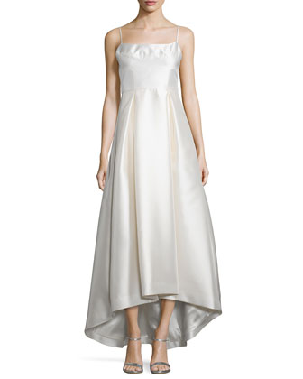 Adashi Sleeveless High-Low Gown, Pearl