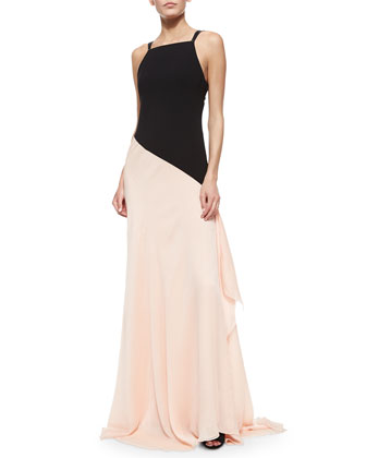 Sleeveless Colorblock Asymmetric Flowy Gown