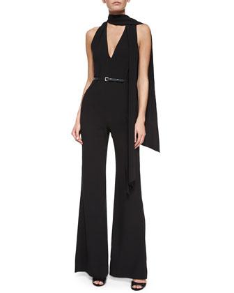 Sleeveless Belted Flare-Leg Jumpsuit w/ Tie Detail, Black