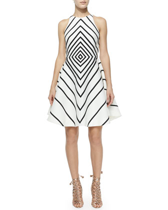 Sleeveless Geometric A-Line Dress, Linen White/Black