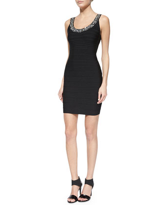 Renee Body-Conscious Crystal-Neck Dress, Black