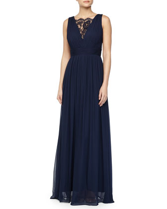 Sleeveless Lace-Inset Pleated Chiffon Gown