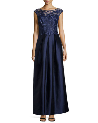 Floral-Embroidered Cap-Sleeve Gown