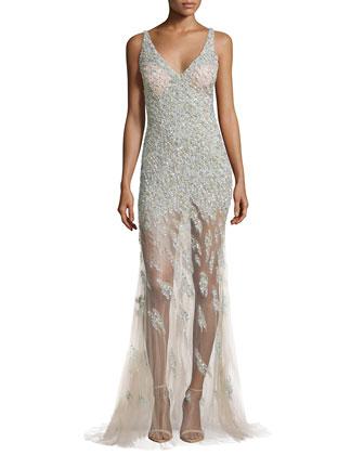 Embellished V-Neck Sleeveless Gown
