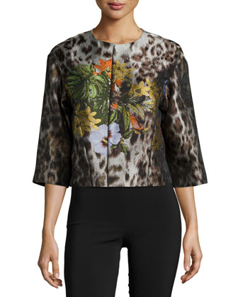 Amity Floral-Embroidered Jacket, Espresso Multi