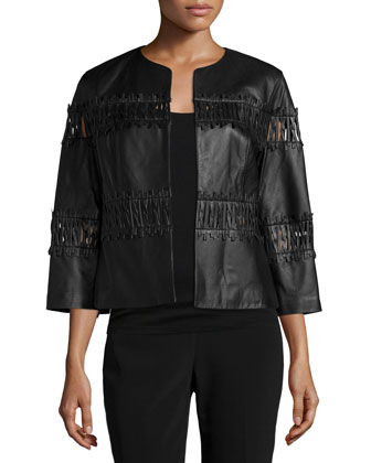 Paz Cropped Leather Jacket, Black