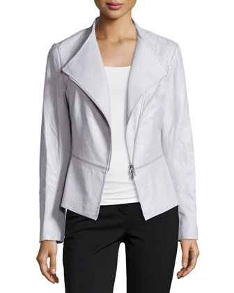 Embossed-Leather Moto Jacket, Zinc