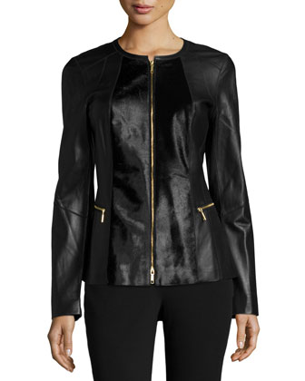Calf-Hair and Leather Jacket, Black