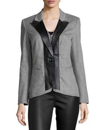 Greer Cashmere Jacket W/Leather Trim, Nickel Melange