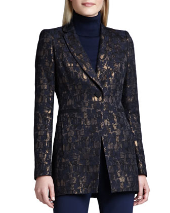 Dannette Metallic One-Button Jacket